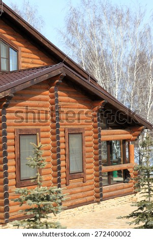 Part of a wooden house in spring, Russia - stock photo