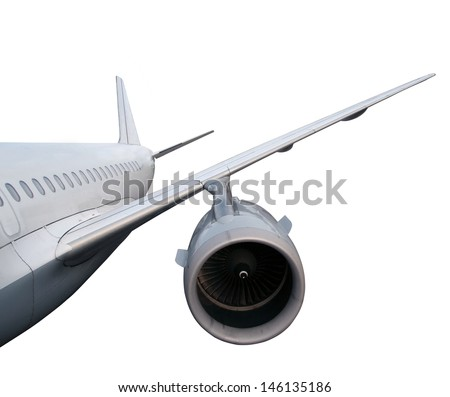 part of airplane isolated on white background.  passenger airplane in flight. nobody - stock photo