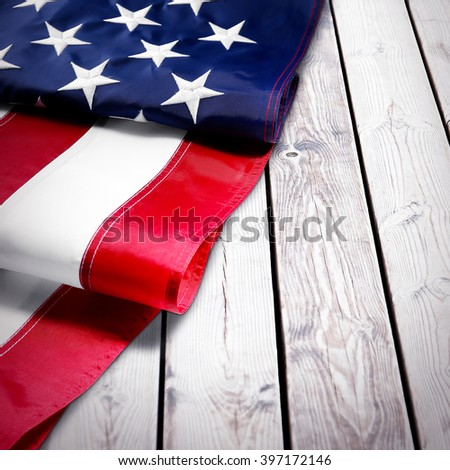 Part of American National Flag on wooden texture background