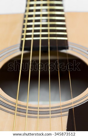 Part of an acoustic guitar - stock photo