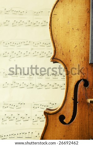 part of an antique violin - stock photo
