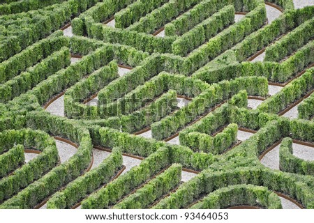 Part of an hedges labyrinth viewed from above - stock photo
