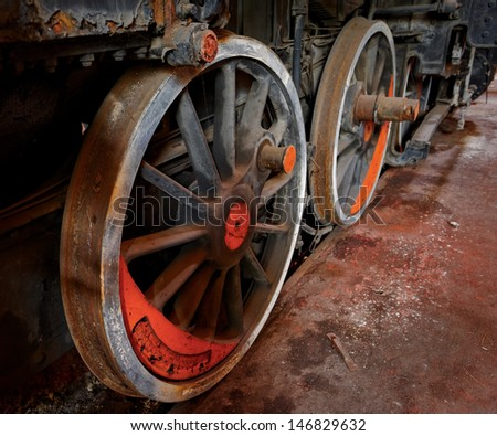 Part of an old industrial train closeup - stock photo