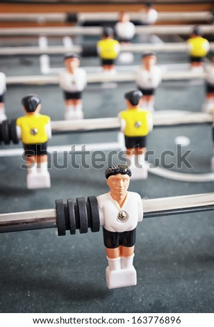 part of an old table soccer game - nice close-up - stock photo