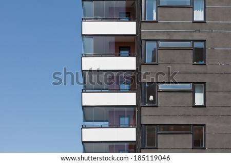 Part of Apartment building on a sunny day - stock photo