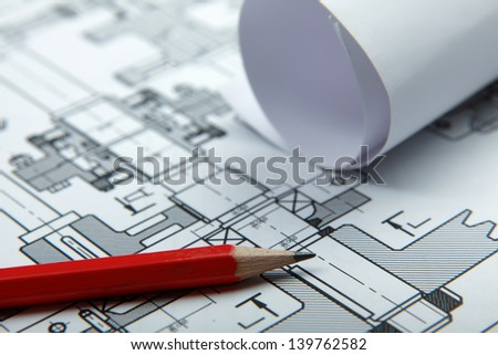 Part of architectural project  and pencil - stock photo