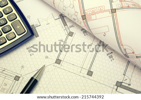 Part of architectural project construction project concept - stock photo