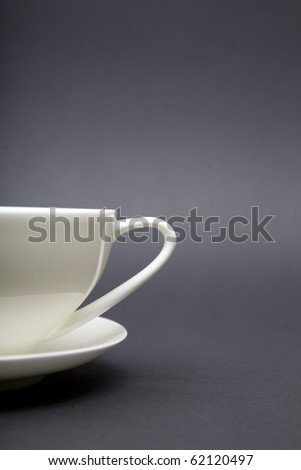 part of big white tea or coffee cup closeup - stock photo