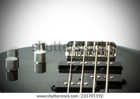 Part of black guitar - stock photo