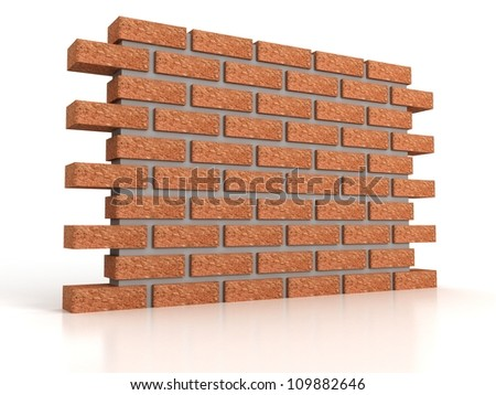 part of brick wall on white background - stock photo