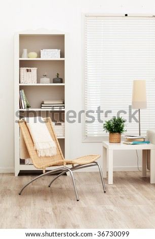 part of brightly lit contemporary living room - stock photo