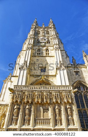Part of Canterbury Cathedral in Canterbury in Kent of England. It is one of the most famous cathedrals in England. It is the Archbishop of Canterbury Cathedral. - stock photo