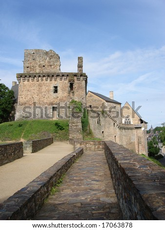 Part of Chateaubriant Chateau, Brittany, France - stock photo