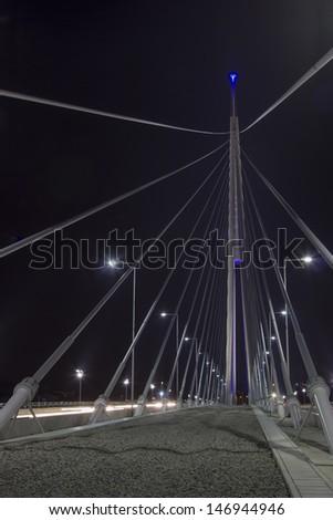 Part of construction of Ada bridge at Night. On Sava River, in Belgrade, Serbia - stock photo