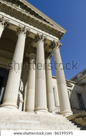 part of courthouse with columns - stock photo