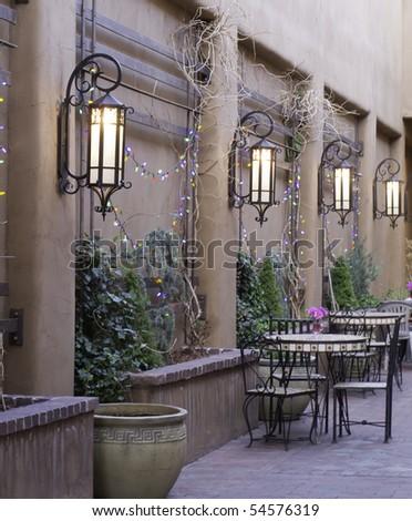 Part of courtyard in Santa Fe - stock photo