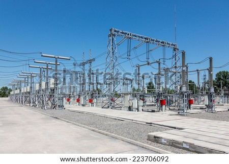 Part of electric station engineering construction on a plant - stock photo