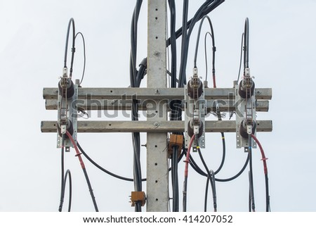 Part of electricity equipment on post