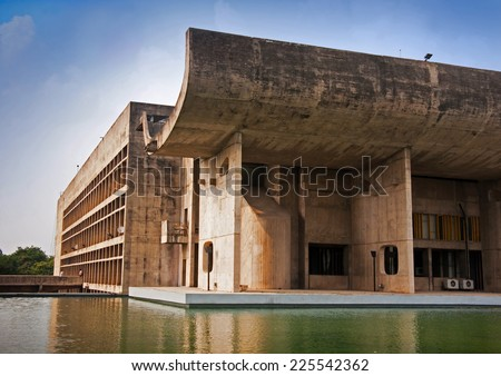 Part of elevation of The Chandigarh Legislative Assembly building, a great example of modernistic architecture in India. It is part of The Capitol Complex designed by noted architect Le Corbusier.  - stock photo