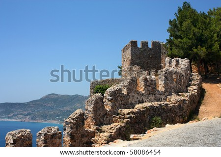 Part of fortress wall in Alanya Turkey - stock photo