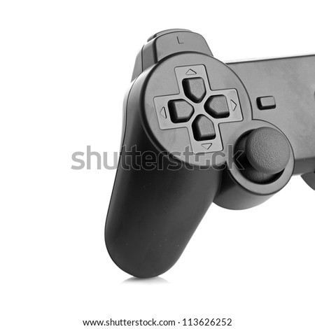 part of gamepad isolated on a white background - stock photo