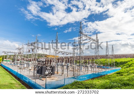 Part of high-voltage substation with switches and disconnectors, Thailand - stock photo