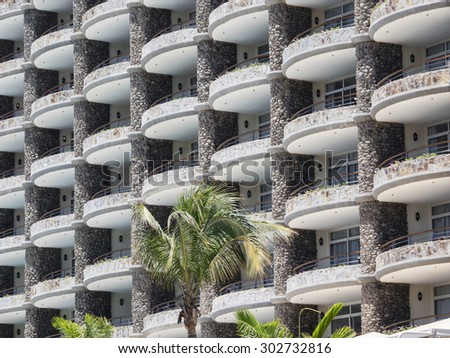 Part of hotel on Amadores beach on Gran Canaria, Spain - stock photo
