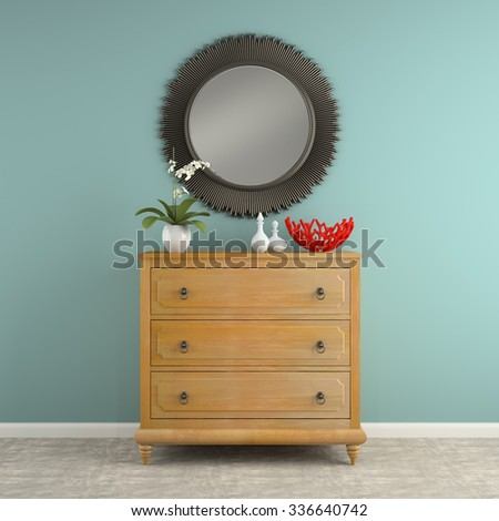 Part of  interior with stylish commode 3D rendering - stock photo