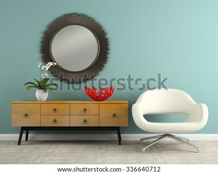 Part of  interior with stylish console and armchair 3D rendering  - stock photo