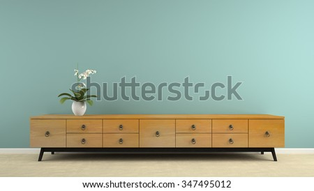 Part of  interior with stylish retro consol and orchid 3D rendering  - stock photo