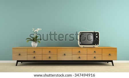 Part of  interior with stylish retro consol 3D rendering  - stock photo