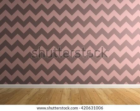 Part of interior with vinous wallpaper 3D rendering - stock photo