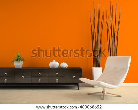 Part of interior with white armchair and orange wall 3D rendering
