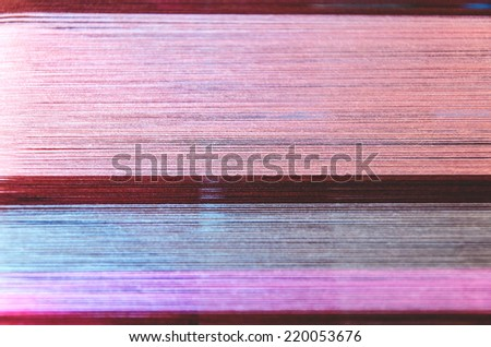 part of loom colorful threads homemade. - stock photo