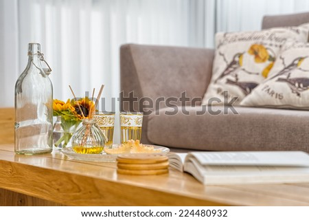 Part Of Luxury Modern Living Room  Shallow Focus - stock photo
