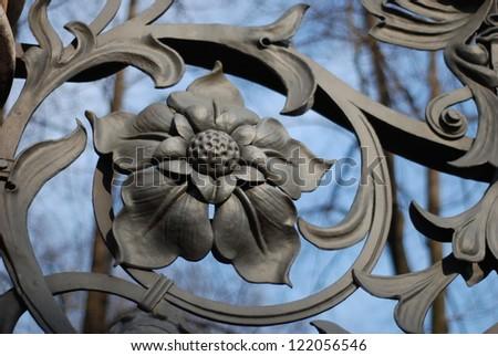 part of Mikhailovsky (Michael) garden fence (1907) in Saint-Petersburg - stock photo