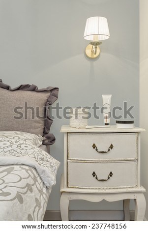 Part of Modern luxury bedroom with wallpaper /  Luxury Hotel Room - stock photo