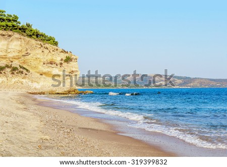 Part of mountain, beach and wave in Greece, Thassos