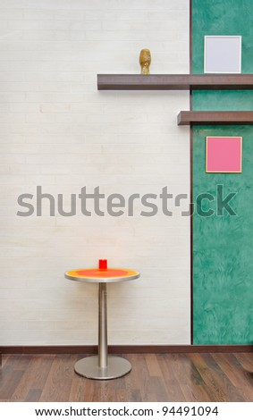 Part of office interior with round table - stock photo