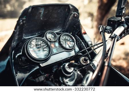 Part of offroad motor bike, closeup shot - stock photo