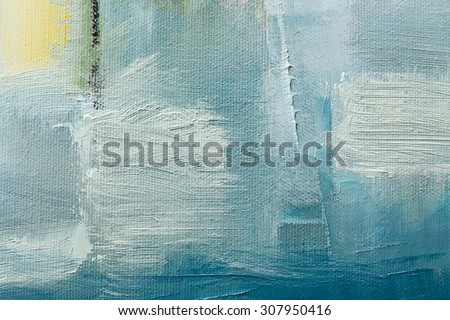 part of oil painting with brush strokes - stock photo