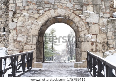 Part of old brick wall gate / Despot's Gate at Kalemegdan fortress, Belgrade, Serbia - stock photo