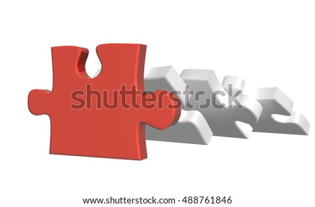 Part of puzzle, supporting three falling parts of puzzles. Isolated on white background. 3d render