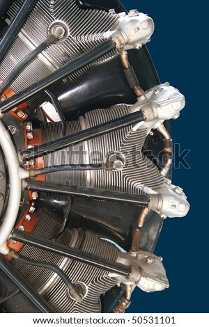 Part of radial engine of old airplane - stock photo