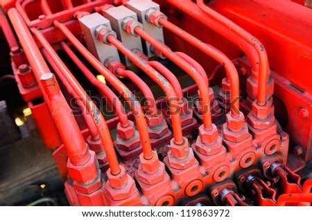 Part of red Fire Truck equipment - stock photo