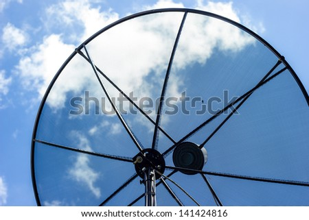 Part of Satellite Dish on blue sky - stock photo