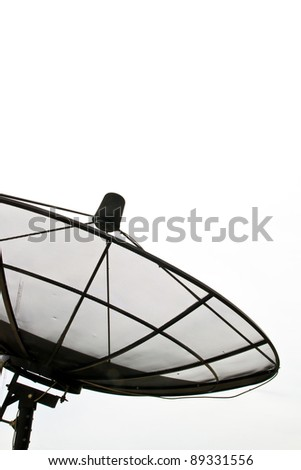 Part of Satellite Dish on isolated on white sky - stock photo