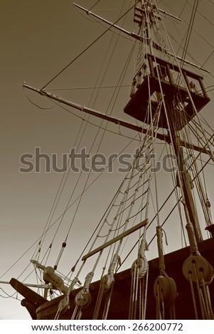 Part of ship in sephia tone - stock photo