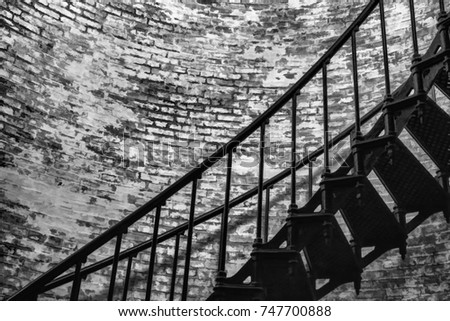 Part Of Spiral Ironwork Staircase And Brick Wall Inside Vintage Currituck  Beach Lighthouse (Corolla,