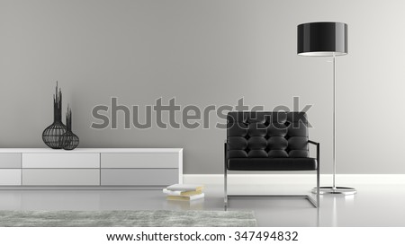 Part of  stylish interior with black armchair 3D rendering  - stock photo